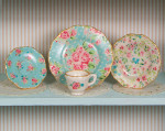 Blue Chintz Decals for one inch scale dollhouse miniature dishes