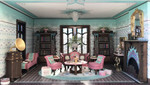 The tables are shown with the sofa and chairs kit in the Joie de Vivre reading room.