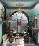 The fireplace is shown in the quarter scale Joie de Vivre bookshop.