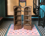 1:48 quarter scale corner shelves for the Joie de Vivre Bookshop
