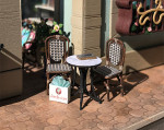 Quarter scale (1:48) cafe tables and chairs kit for the Joie de Vivre bookshop