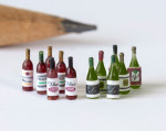 1:48 (quarter scale) wine and champagne bottles with labels kit