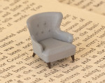 Quarter scale 1:48 wingback chair for library, living room, office