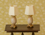 2 traditional pineapple lamps for 1:48 quarter scale miniatures; light with LEDs