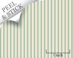 Ticking stripe pattern, pistachio color. 1:48 quarter scale peel and stick wallpaper
