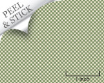Gingham pattern, moss green color. 1:48 quarter scale peel and stick wallpaper