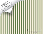 Ticking stripe pattern, moss green color. 1:48 quarter scale peel and stick wallpaper