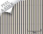Ticking stripe pattern, iron color. 1:48 quarter scale peel and stick wallpaper