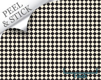 Peel and Stick Wallpaper Flooring - Checkered Past, Black and White Check Diamond