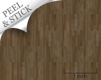 Peel and stick flooring. Walnut color random plank. For quarter scale dollhouse miniatures.