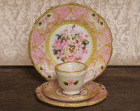 Pink Floral Decals for one inch scale dollhouse dishes