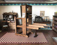 1:48 quarter scale printing press kit shown in the printery of Joie de Vivre.