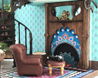 1:48 quarter scale fireplace kit with screen