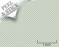 Gingham pattern, pistachio color. 1:48 quarter scale peel and stick wallpaper