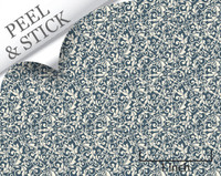 Tendril pattern, denim color. 1:48 quarter scale peel and stick wallpaper