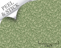Tendril pattern, moss green color. 1:48 quarter scale peel and stick wallpaper