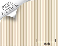 Ticking stripe pattern, sand color. 1:48 quarter scale peel and stick wallpaper