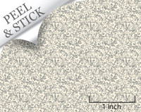 Tendril pattern, pewter color. 1:48 quarter scale peel and stick wallpaper