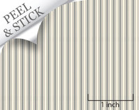 Ticking pattern, pewter color. 1:48 quarter scale peel and stick wallpaper