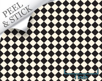 Checkered tile pattern, black and ivory. 1:48 quarter scale peel and stick wallpaper