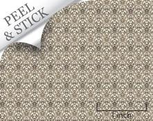 Brown Damask Quarter Scale Wallpaper