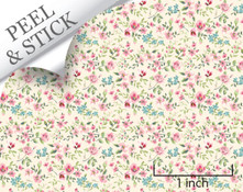 Large Flower, Ivory. 1:48 quarter scale peel and stick wallpaper