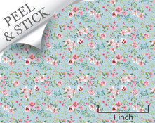 Large Flower, Blue. 1:48 quarter scale peel and stick wallpaper