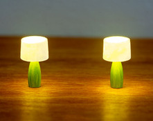 These quarter scale lamps may be lit with LED lighting