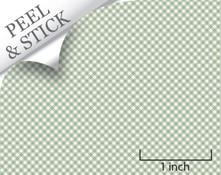 Gingham pattern, pistachio color. 1:48 quarter scale peel and stick wallpaper