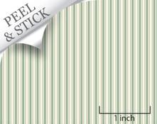 Ticking stripe pattern, pistachio color. 1:48 quarter scale peel and stick wallpaper