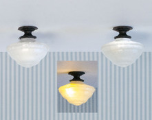 2 ceiling lights, lamps, chandelier shades for 1:48 quarter scale miniatures; light with LEDs