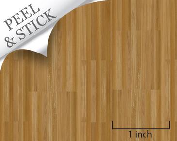 Peel and stick oak color flooring for quarter scale dollhouse miniatures