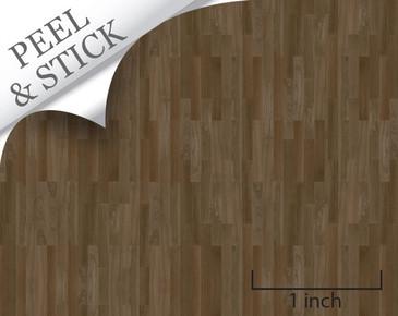 Peel and stick flooring. Walnut color random plank. For quarter scale dollhouse miniatures.
