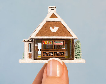 Micro Gingerbread Post Office Kit with Furnishings