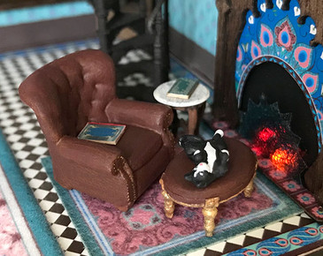 1:48 quarter scale chair with an ottoman and side table.