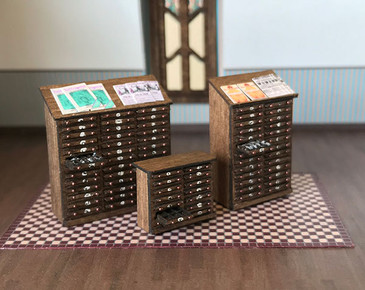 1:48 quarter scale cabinets for printer's type.