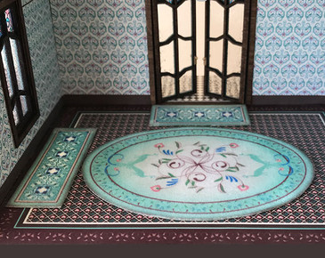 1:48 Quarter scale Turquoise Rugs.