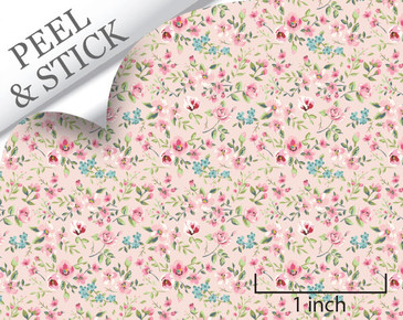 Large Flower, Pink. 1:48 quarter scale peel and stick wallpaper