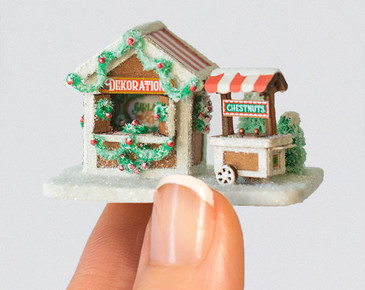 1:144 micro scale Market Scene with Chestnut Cart Kit from True2Scale