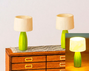 2 modern lamps for 1:48 quarter scale miniatures; light with LEDs