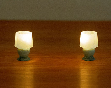2 small table lamps for 1:48 quarter scale miniatures; light with LEDs