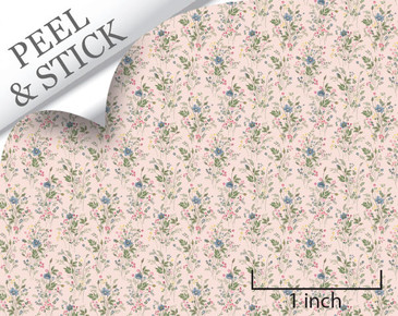 Just Picked, pink color. 1:48 quarter scale peel and stick wallpaper