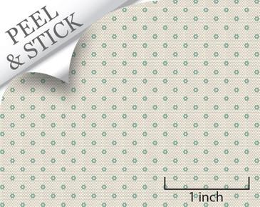 Hexagon tile pattern, pistachio color. 1:48 quarter scale peel and stick tile flooring