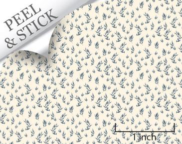 Branch pattern, denim color. 1:48 quarter scale peel and stick wallpaper