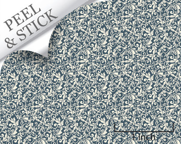 Tendril pattern, denim color. 1:48 quarter scale peel and stick wallpaper