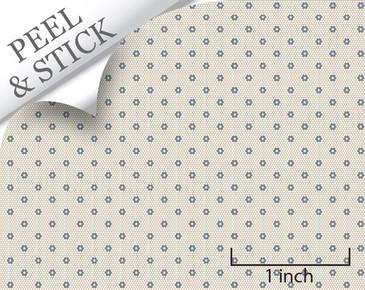 Hexagon tile pattern, denim color. 1:48 quarter scale peel and stick tile flooring