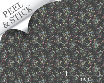 Just Picked pattern, iron color. 1:48 quarter scale peel and stick wallpaper