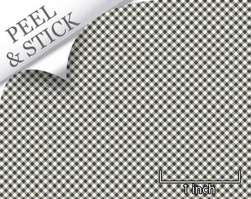 Gingham pattern, iron color. 1:48 quarter scale peel and stick wallpaper