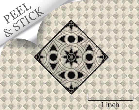 """1:48 flooring: """"Ivory Marble Medallion"""""""