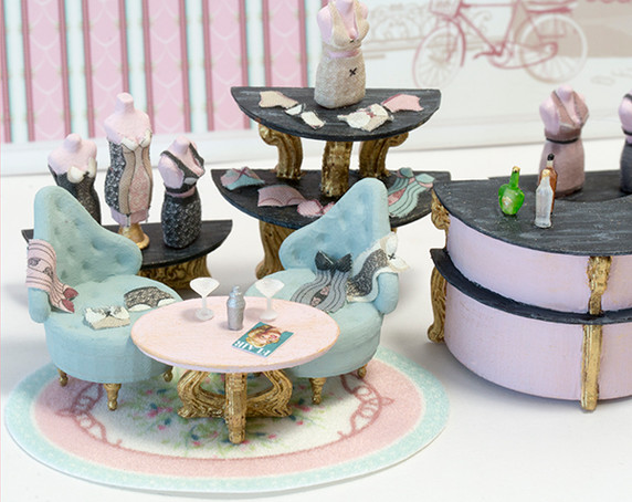Quarter scale (1:48) furniture and accessories for the second floor of Oui Wee Lingerie.
